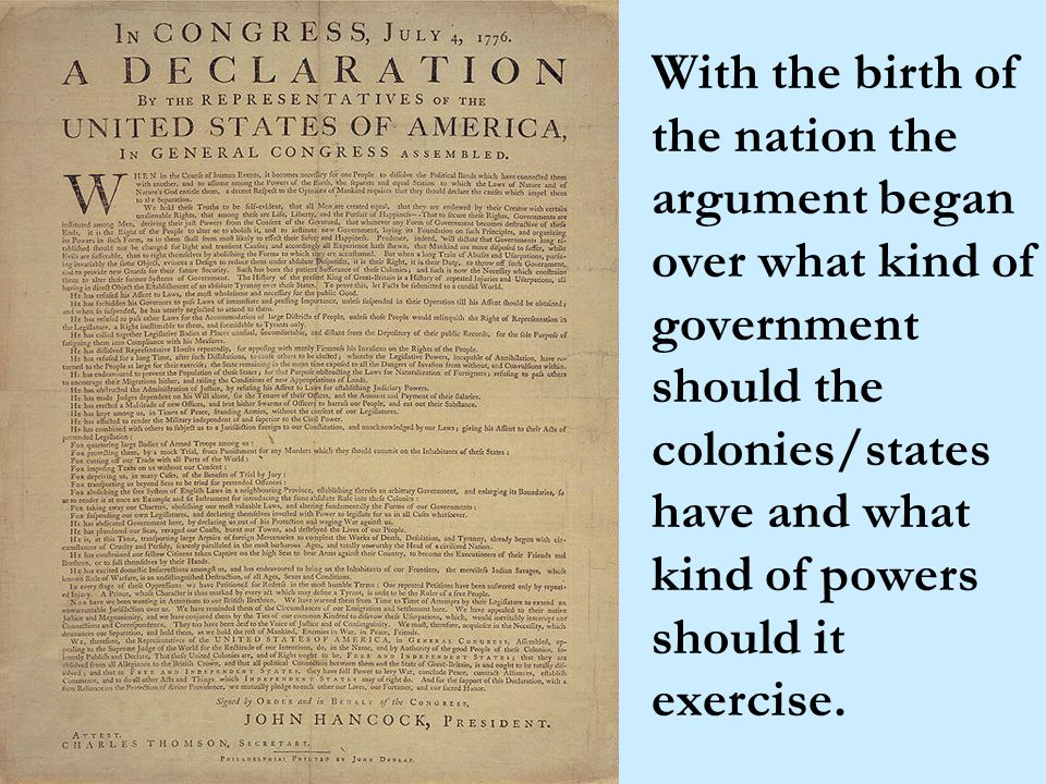 Articles of Confederation, 1781-1789 First written U.S.