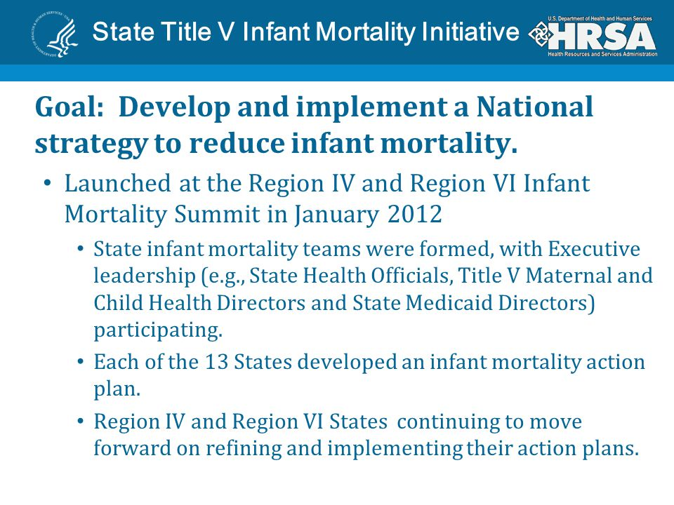 State Title V Infant Mortality Initiative Based on review of State Infant Mortality Action Plans, five common strategies emerged: Reduce elective delivery at less than 39 weeks; Expand access to interconception care through Medicaid 1115 waivers; Promote smoking cessation among pregnant women; Prevent SIDS/SUIDS by promoting safe sleep; and Improve perinatal regionalization.