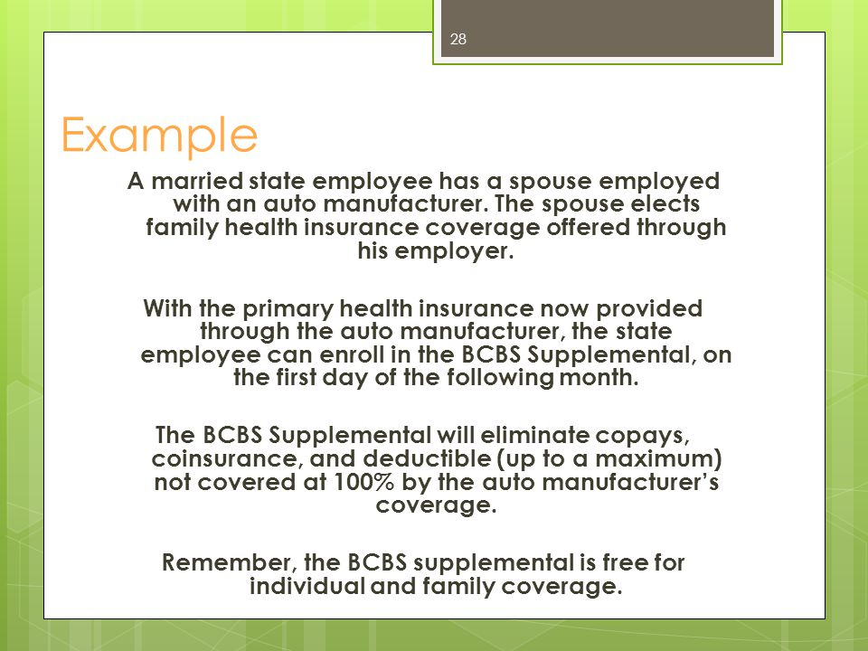 Advantages to enrolling in the BCBS Supplemental The coverage is free of charge for individual and family coverage.