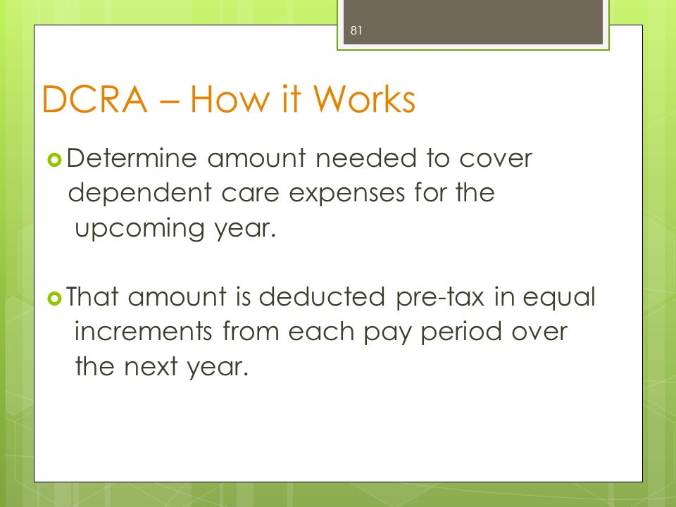 DCRA Example  $2,000 / 24 pay periods = $83.34 per pay period.*  The money is placed into an account for you to use when you have a dependent care expense.
