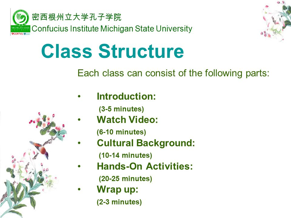 Introduction introduce the cultural topic through interesting questions or background information.