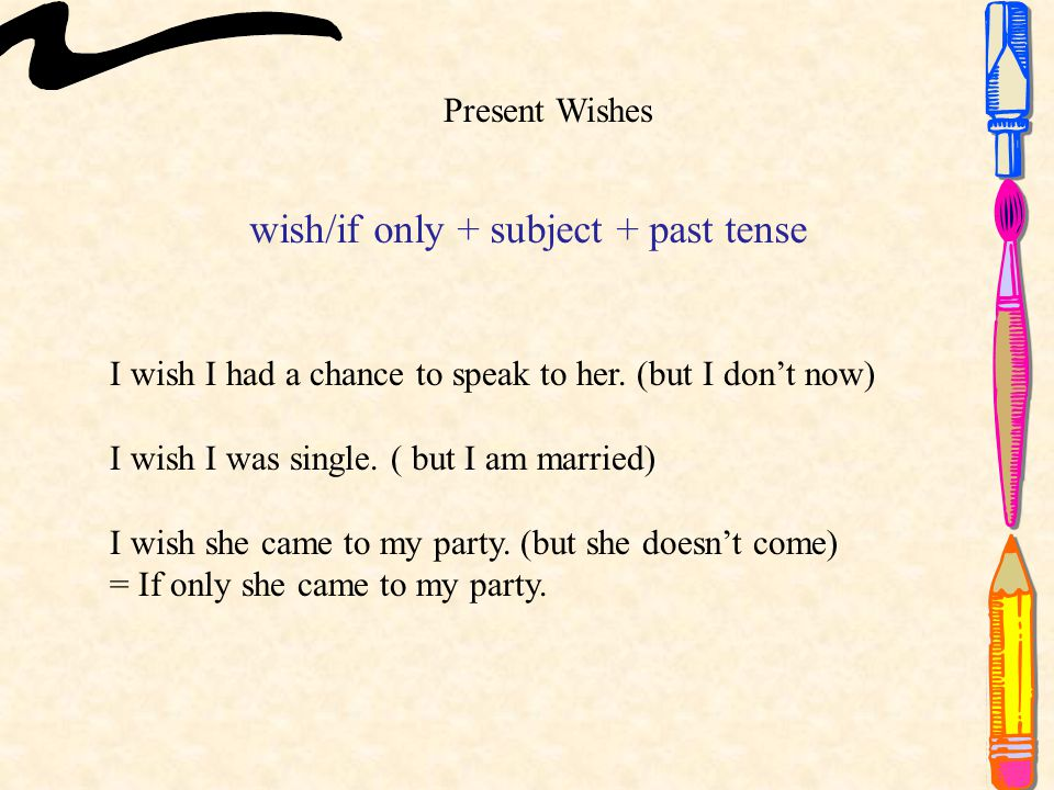wish/if only + subject + past tense Present Wishes I wish I had a chance to speak to her.