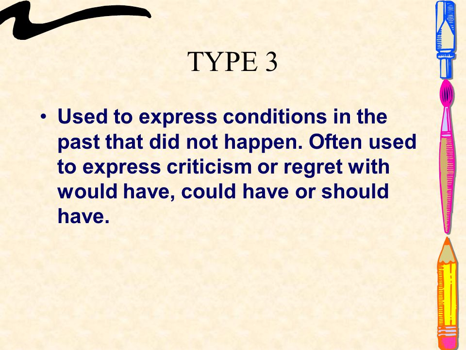 TYPE 3 Used to express conditions in the past that did not happen.