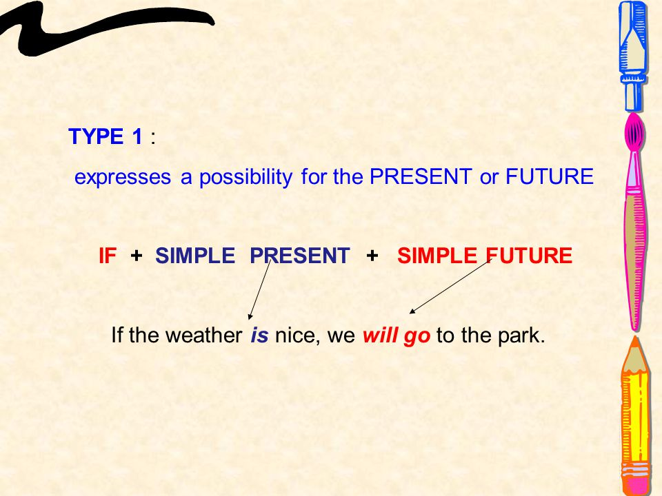 TYPE 1 : expresses a possibility for the PRESENT or FUTURE IF + SIMPLE PRESENT + SIMPLE FUTURE If the weather is nice, we will go to the park.