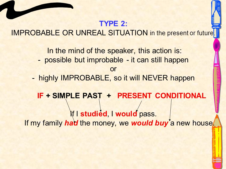 TYPE 2: IMPROBABLE OR UNREAL SITUATION in the present or future.