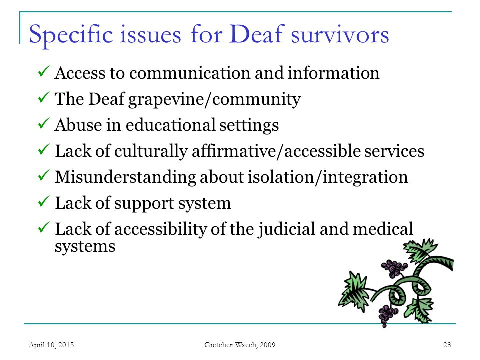 Gretchen Waech, 2009 April 10, 201529 Access to communication and information  Little or no education about S/DV within community.