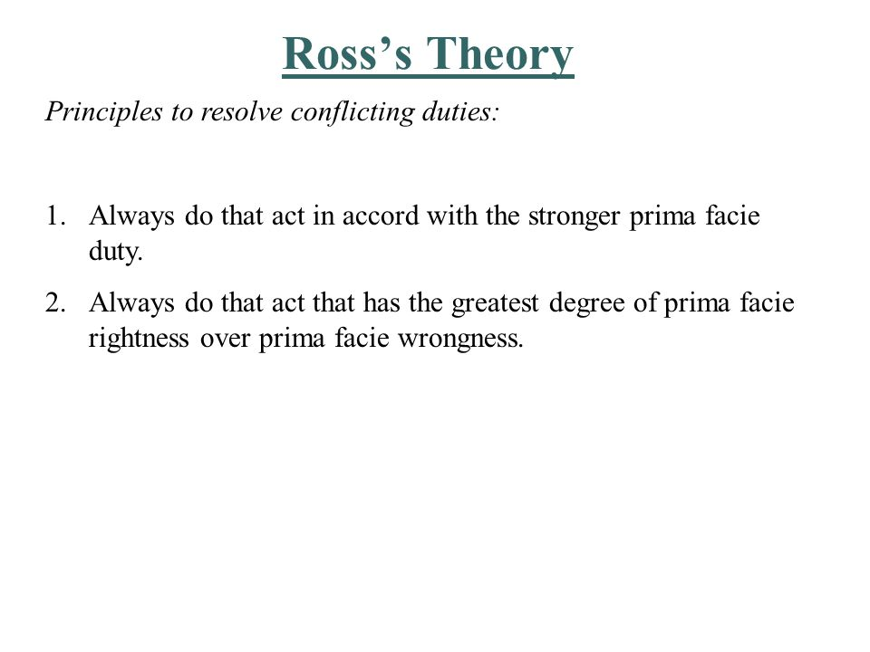 Problems with Ross's Theory Where do we draw the line.