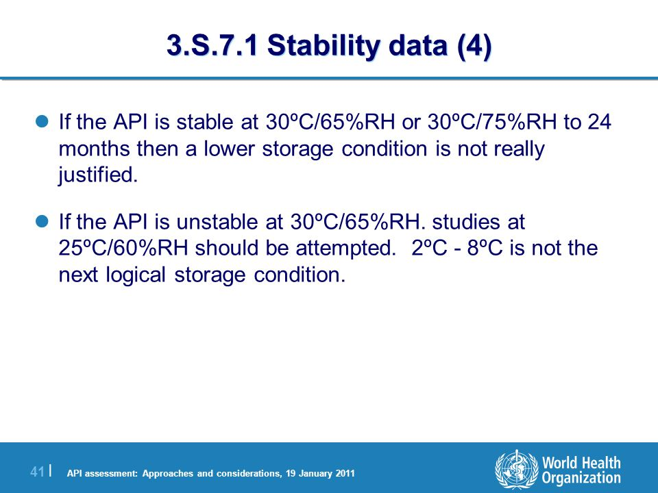 API assessment: Approaches and considerations, 19 January 2011 42 | 3.S.7.1 Stability data (5) commit to initiating long-term stability trials on the next two batches (pilot scale or greater) manufactured at either 30ºC/65%RH or 30ºC/75%RH.