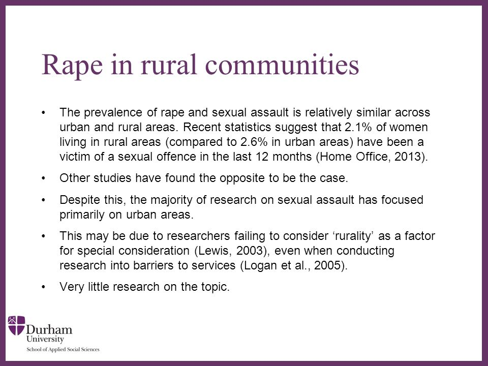 ∂ Specific challenges in rural communities People who live in rural areas can face victim isolation from services (Lewis, 2003).