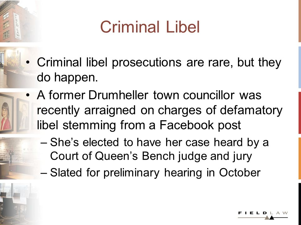 Criminal Libel Many of the accused in these cases are mentally unstable, often fixated on the defendants and extremely litigious R.