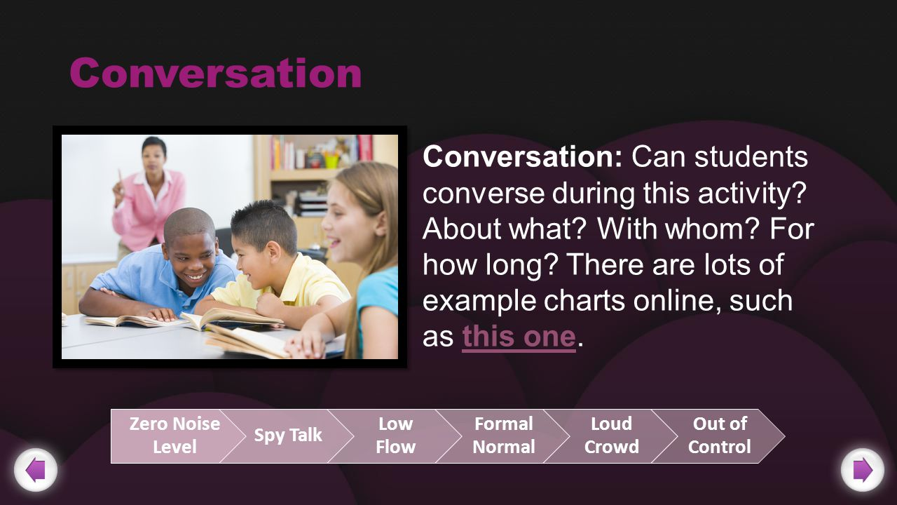 Conversation Conversation: Can students converse during this activity.