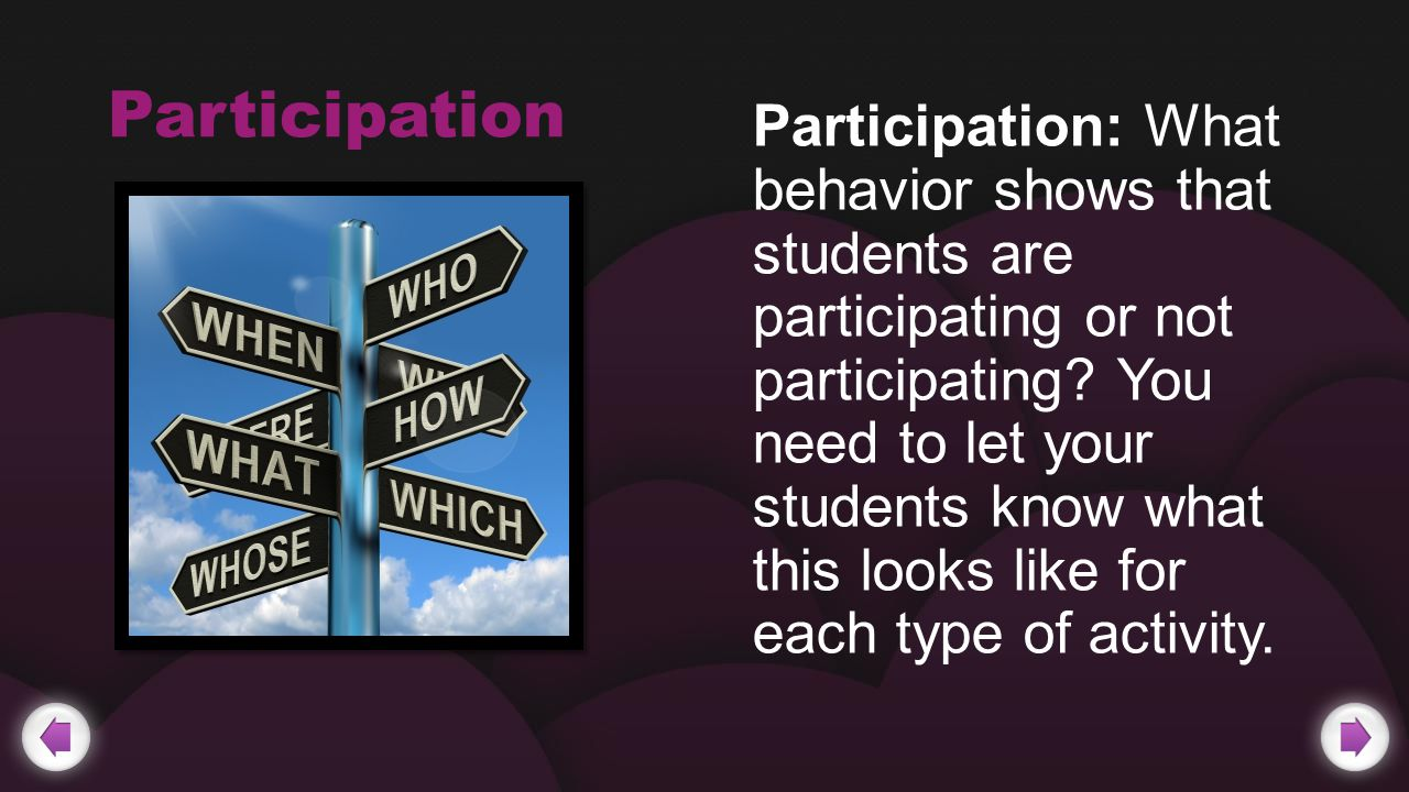 Participation Participation: What behavior shows that students are participating or not participating.