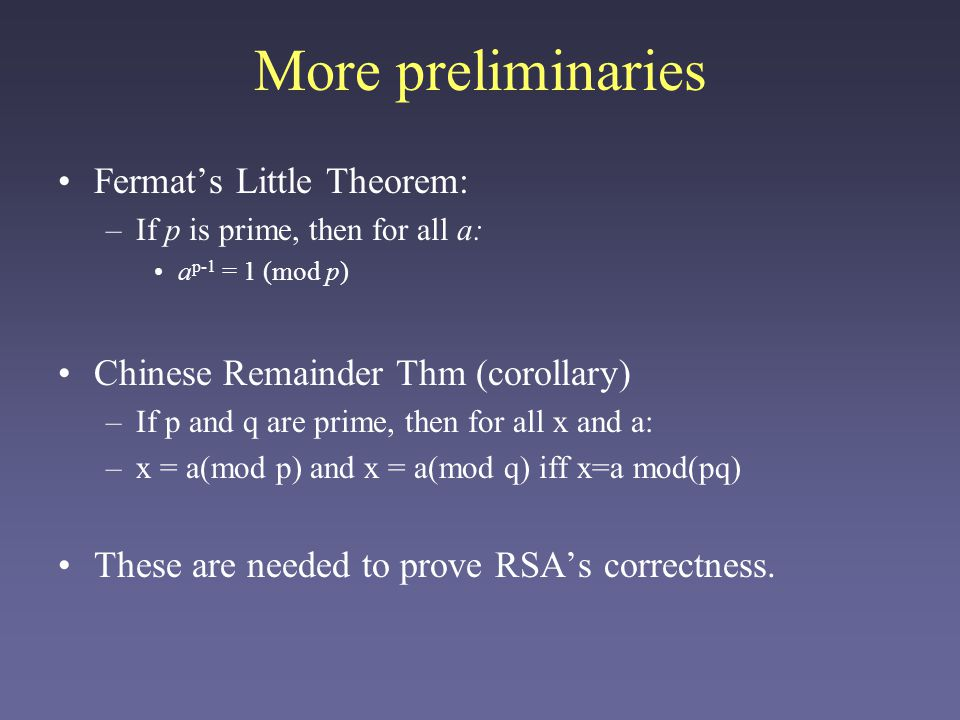The RSA Algorithm Pick two large (100 digit) primes p and q.