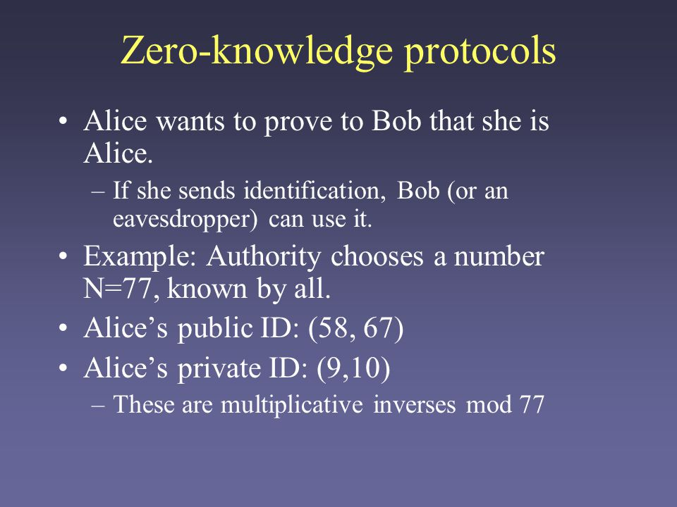 Zero-knowledge protocols Alice chooses some random numbers and computes their square mod N.