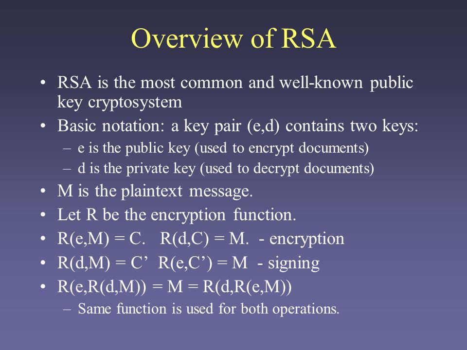 Modular Arithmetic RSA's security is based on modular arithmetic.