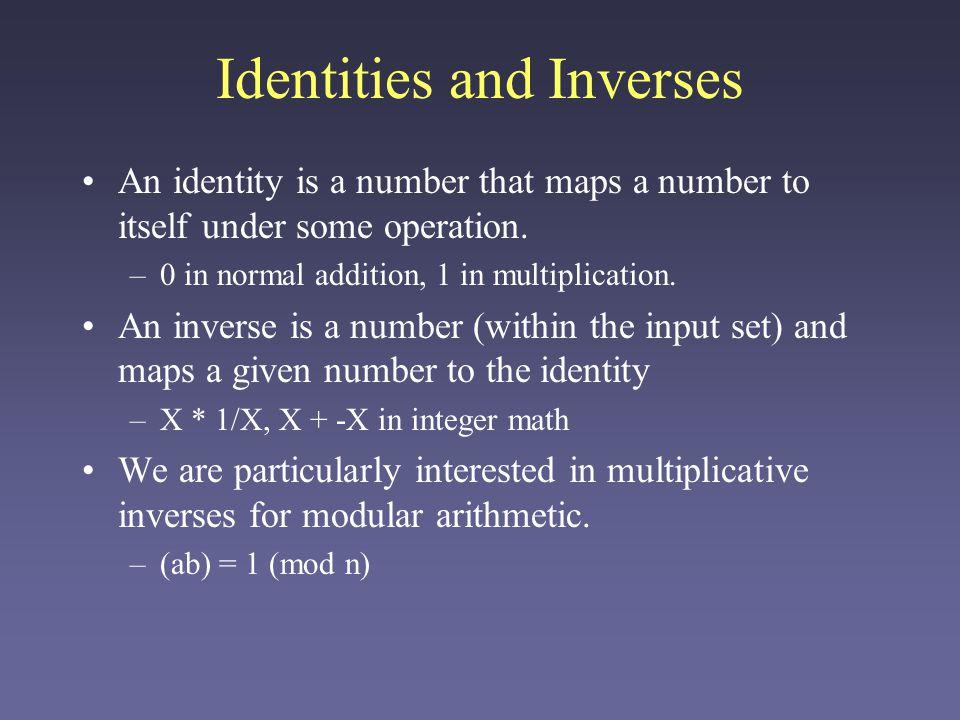 Multiplicative Inverses 3 and 2 are multiplicative inverses mod 5.