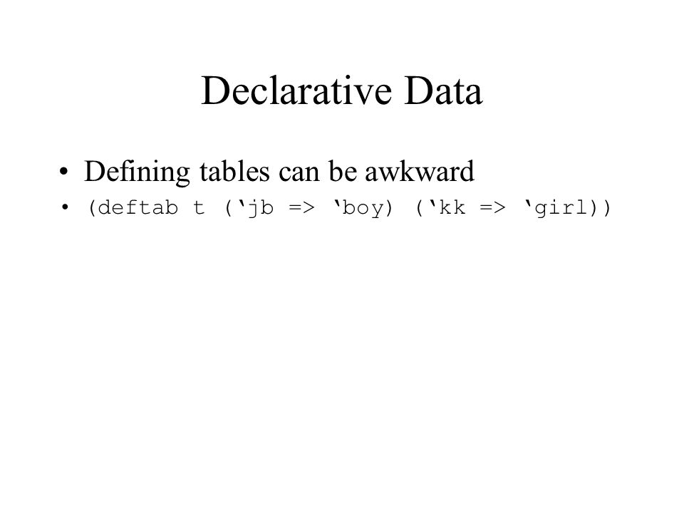 Declarative Data Examples f(list(x, y, z)); Studies { course Math101 { title Mathematics 101 ; 2 points fall term; } … exclusions { Math101 <> MathA; Math102 <> MathB; } prerequisites { (Math101, Math102) < (Math201, Math202, Math204); (CS101,CS102) < (CS201, CS203); } … }