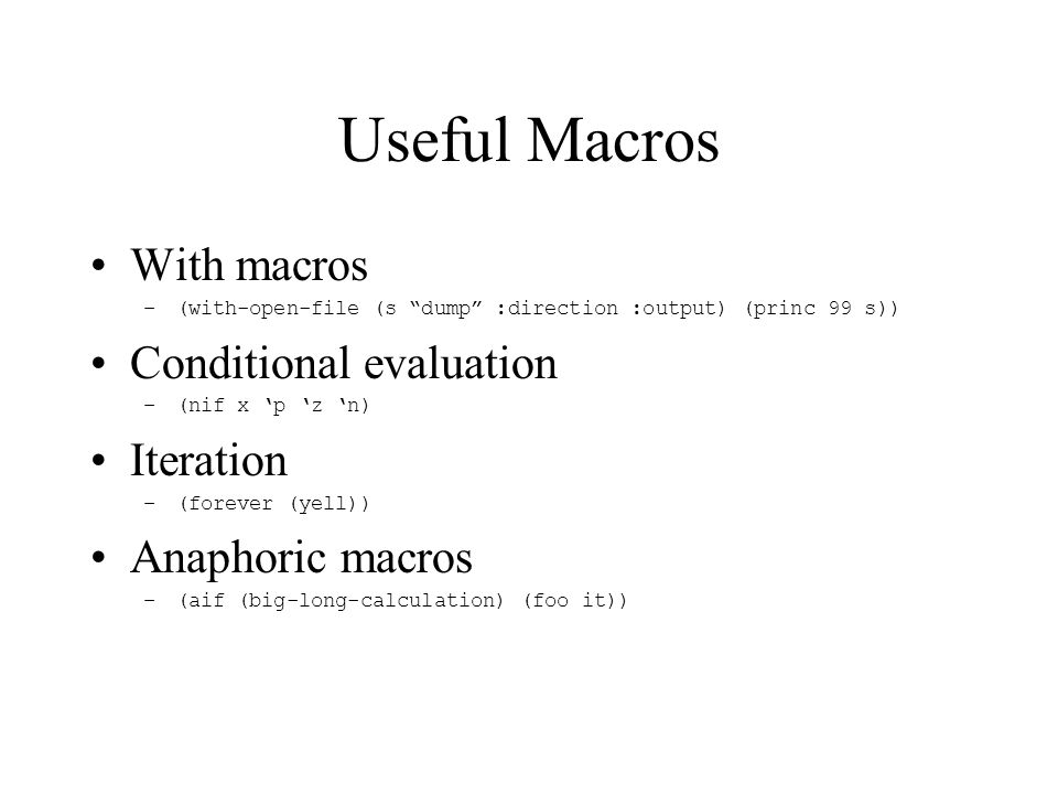 Improper Macros General Rule: It is inelegant to use a macro where a function would do.