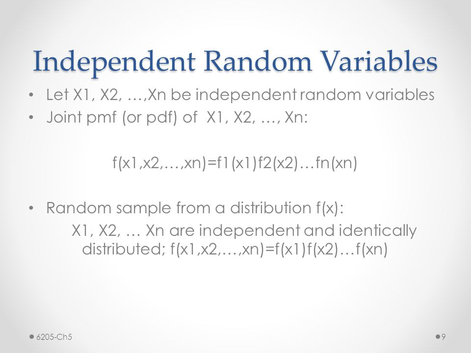 Examples/Exercises Let X1, X2, …, Xn be a random sample from Exp(0.5).