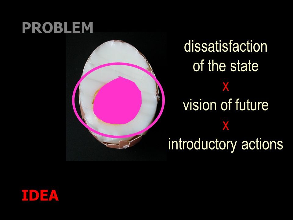 IDEA PROBLEM dissatisfaction of the state x vision of future x introductory actions