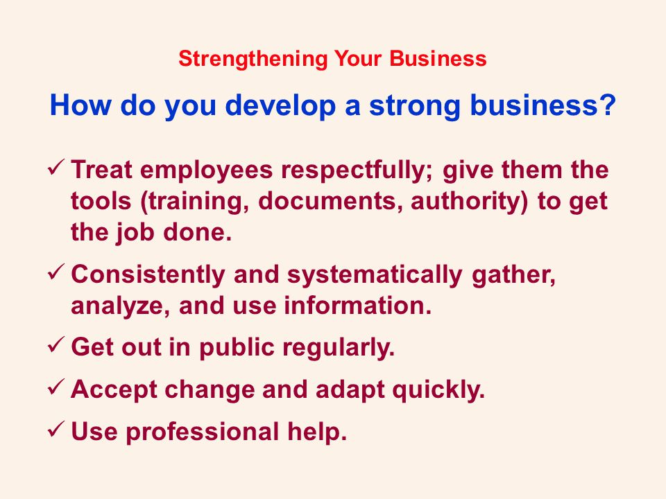 Strengthening Your Business .Let Us Help You... Robert H.