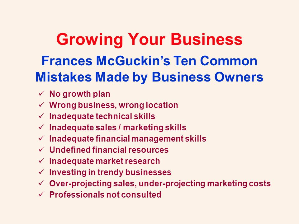 Growing Your Business How do you remove obstacles to growth.