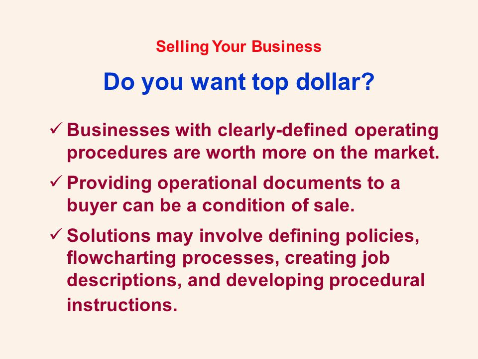 Selling Your Business.Let Us Help You... Robert H.