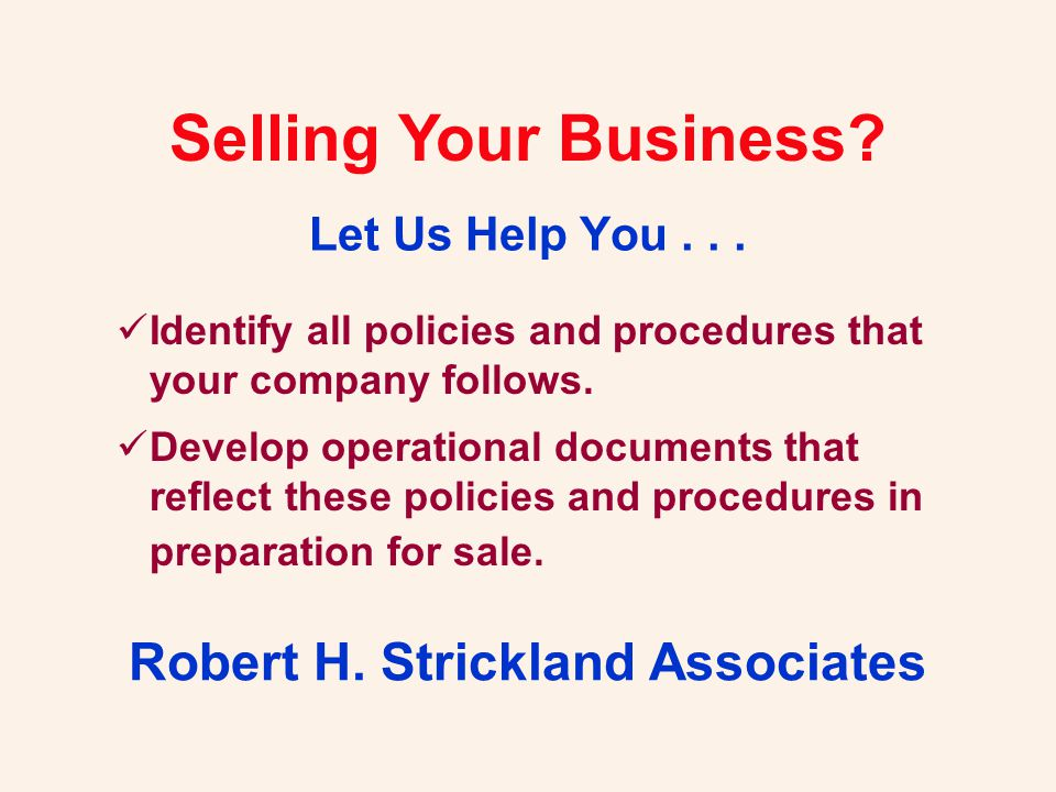Robert H.Strickland Associates P. O.