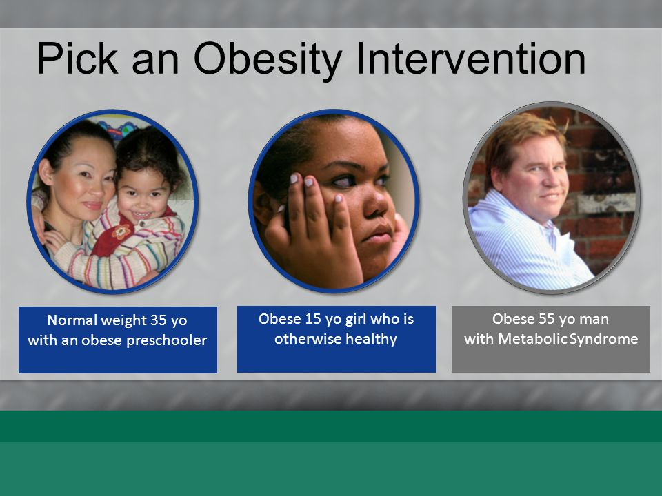 Pick an Obesity Intervention Obese 15 yo girl who is otherwise healthy School based Behav Therapy Neighbor- hood