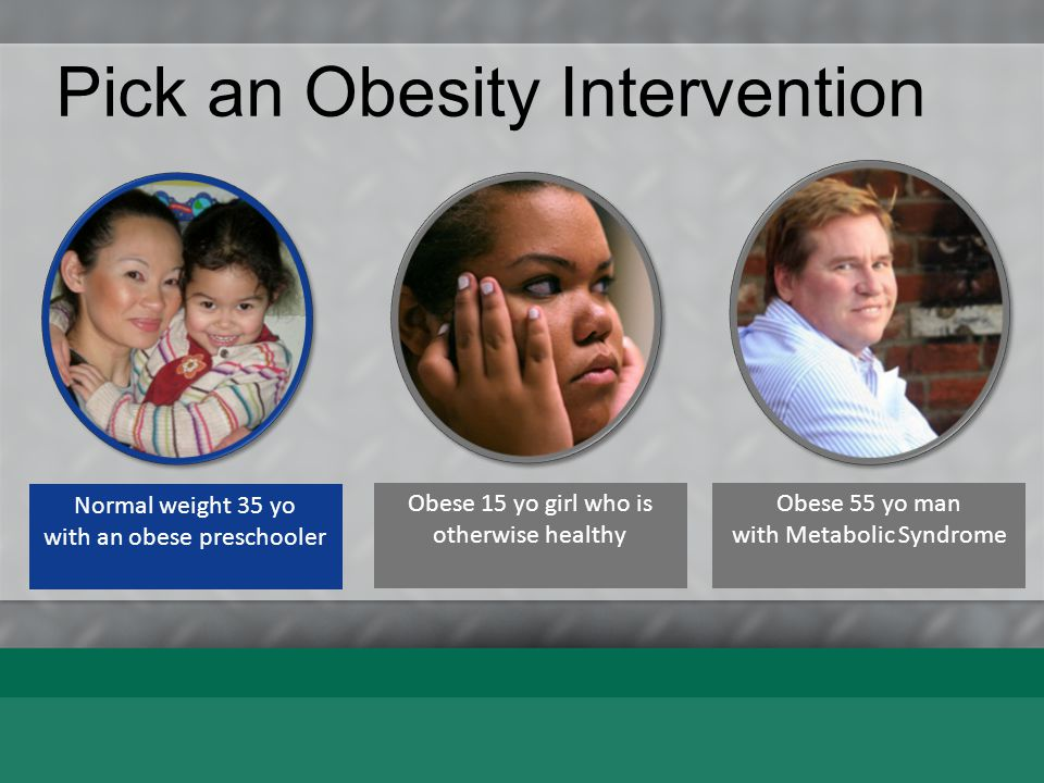Pick an Obesity Intervention Normal weight 35 yo with an obese preschooler Early childcare based Behav Therapy Neighbor- hood