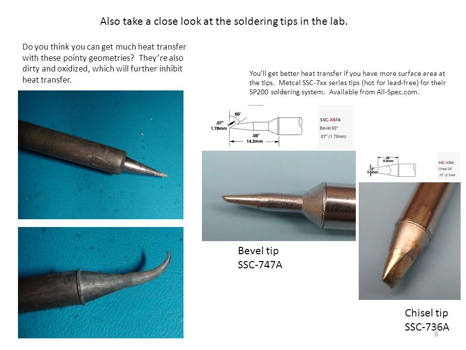 9 Bevel tip Clean the tip by applying flux, then melting some solder right on the tip, then rub it off in the gold brillo.