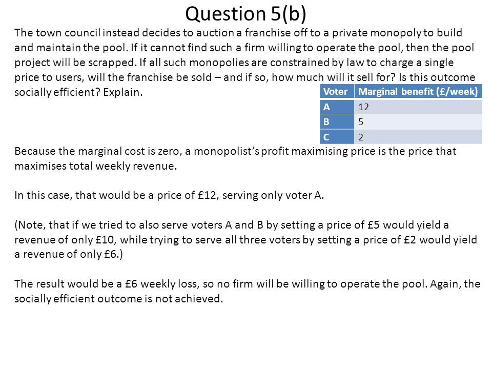 Question 5(b) The town council instead decides to auction a franchise off to a private monopoly to build and maintain the pool.