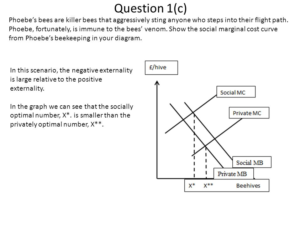 Question 1(d) Indicate the socially optimal quantity of beehives on your diagram.
