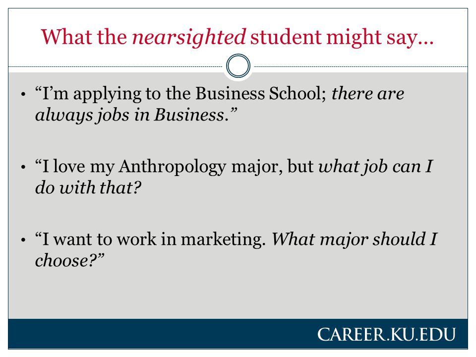 Challenges for the nearsighted student… Opening up to deeper introspection, assessing future needs Considering what s ahead Broadening limited knowledge base Lack of support for exploring passions Seeing career options related to major