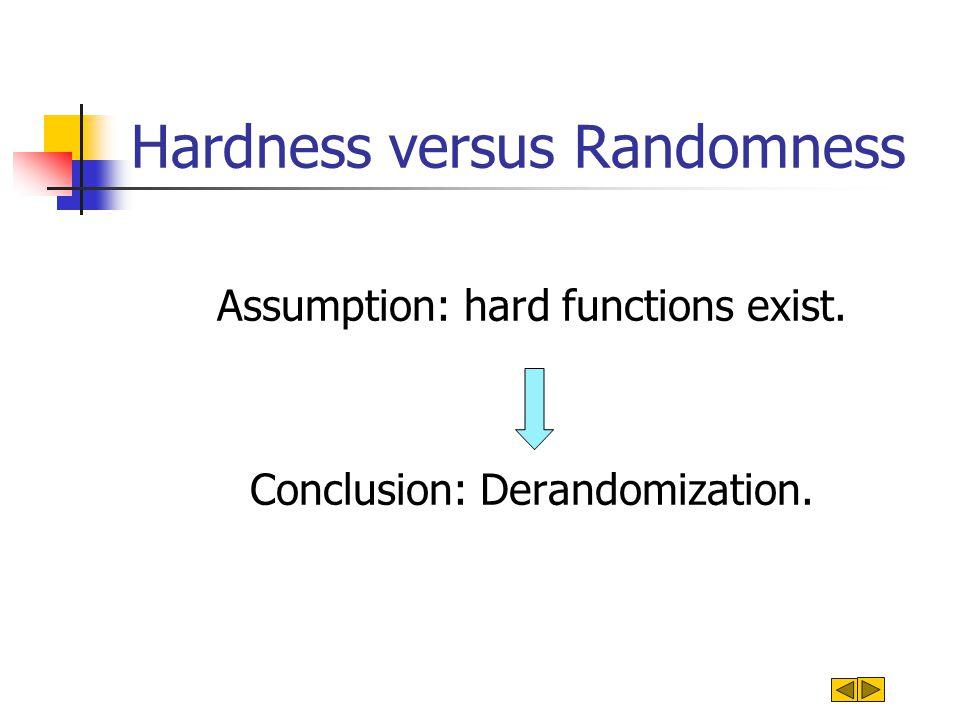 Hardness versus Randomness Assumption: hard functions exist.