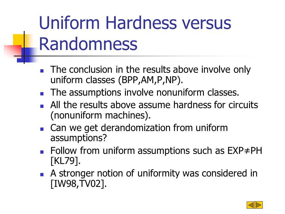A closer look at nonuniform tradeoffs for BPP [BFNW93] Assumption: Hard function for: circuits.