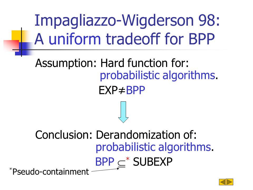 Impagliazzo-Wigderson 98: A uniform tradeoff for BPP Assumption: Hard function for probabilistic algorithms.