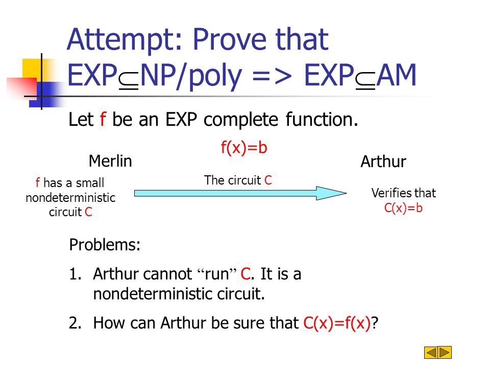 Thm: [BFL91] EXP  P/poly => EXP  AM Let f be an EXP complete function.