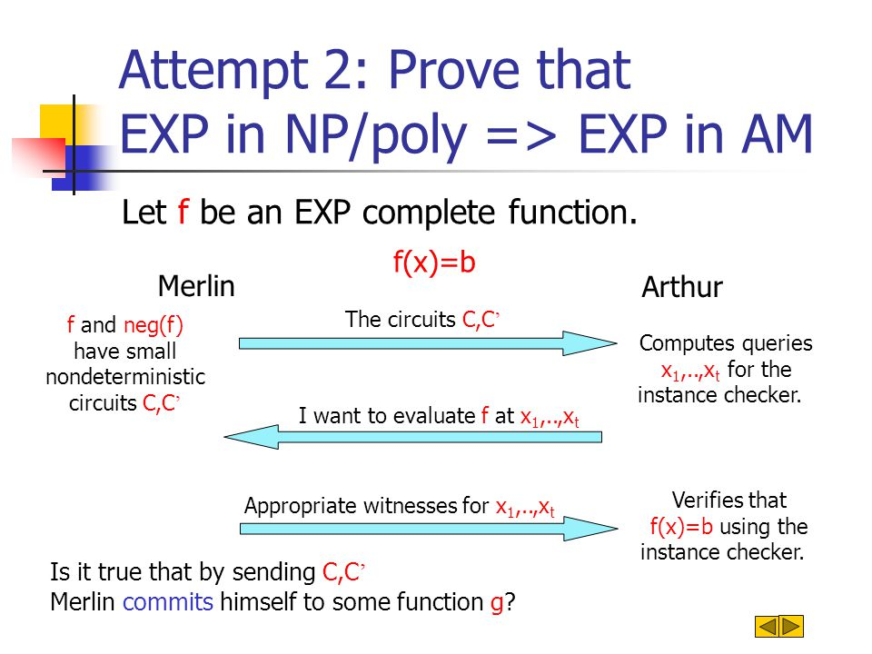 Single Valued pairs of Nondeterministic Circuits If Merlin sends C,C ' which accept all inputs, he is not at all commited: For every x he can open x as both 0 and 1.