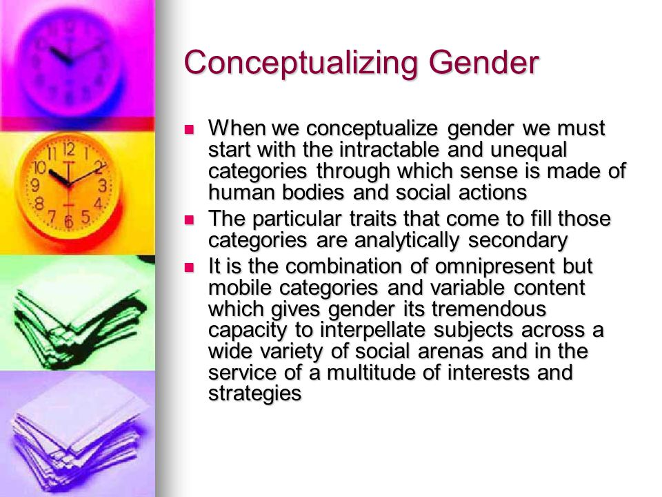 Variation in Content This variation in content is both a response to local specificities and a structural element of how gender works as a social process overall This variation in content is both a response to local specificities and a structural element of how gender works as a social process overall Femininity and Masculinity are relational categories which operate fundamentally through contrast with each other whether or not that process is made explicit in any particular case Femininity and Masculinity are relational categories which operate fundamentally through contrast with each other whether or not that process is made explicit in any particular case