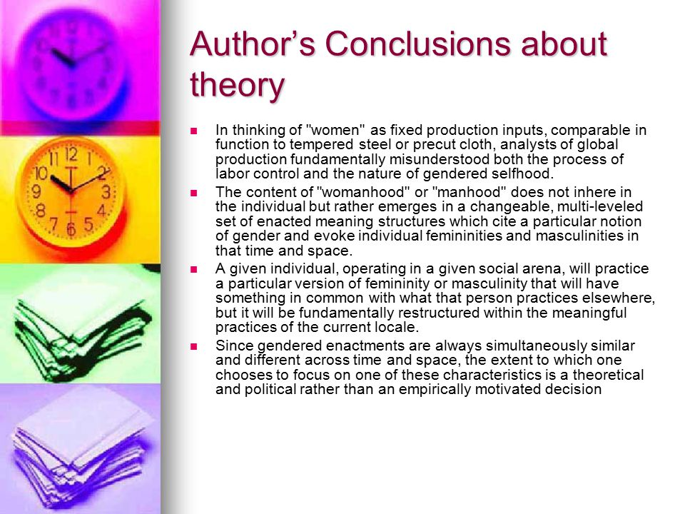 Author's Conclusions Cont.
