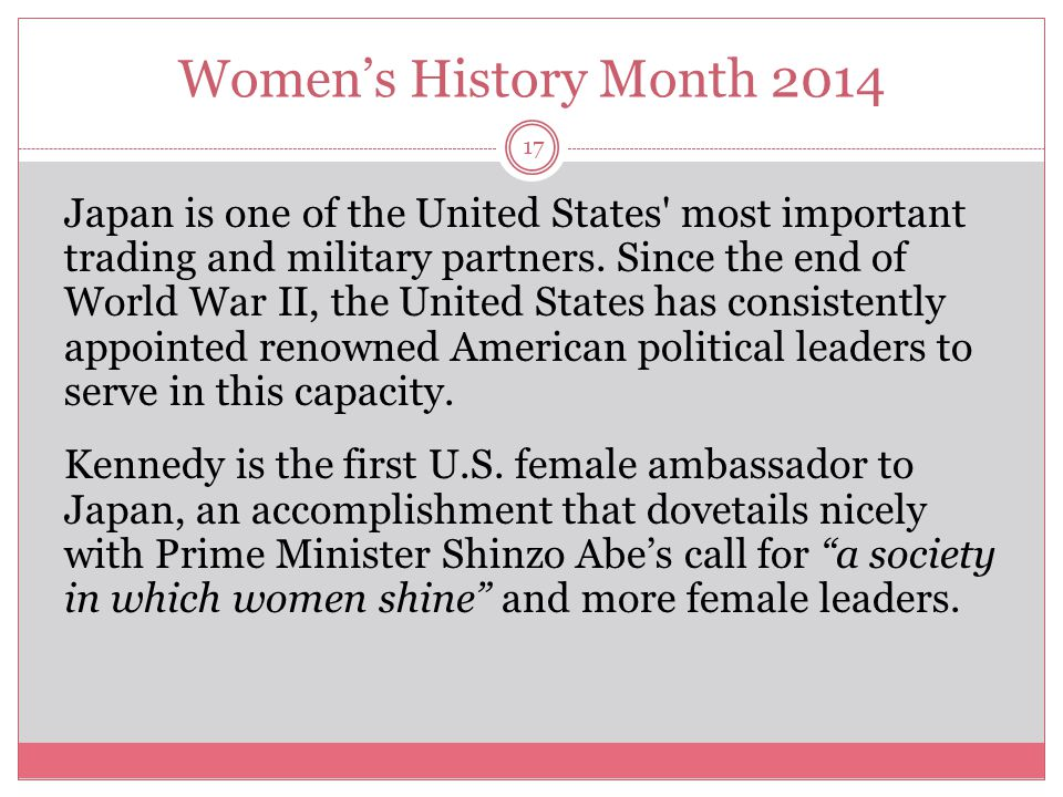 Women's History Month 2014 18 Kennedy brings a third generation of her family into the U.S.