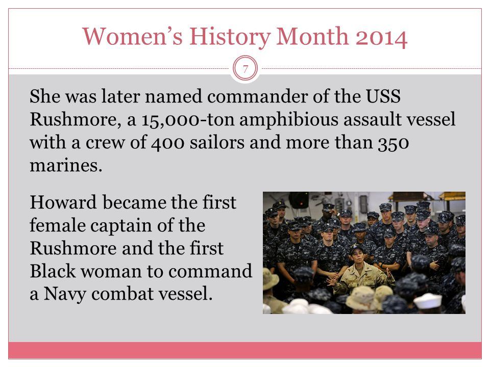 Women's History Month 2014 8 Less than a week into her new job, Howard learned that the cargo ship Maersk Alabama had been hijacked by Somali pirates.