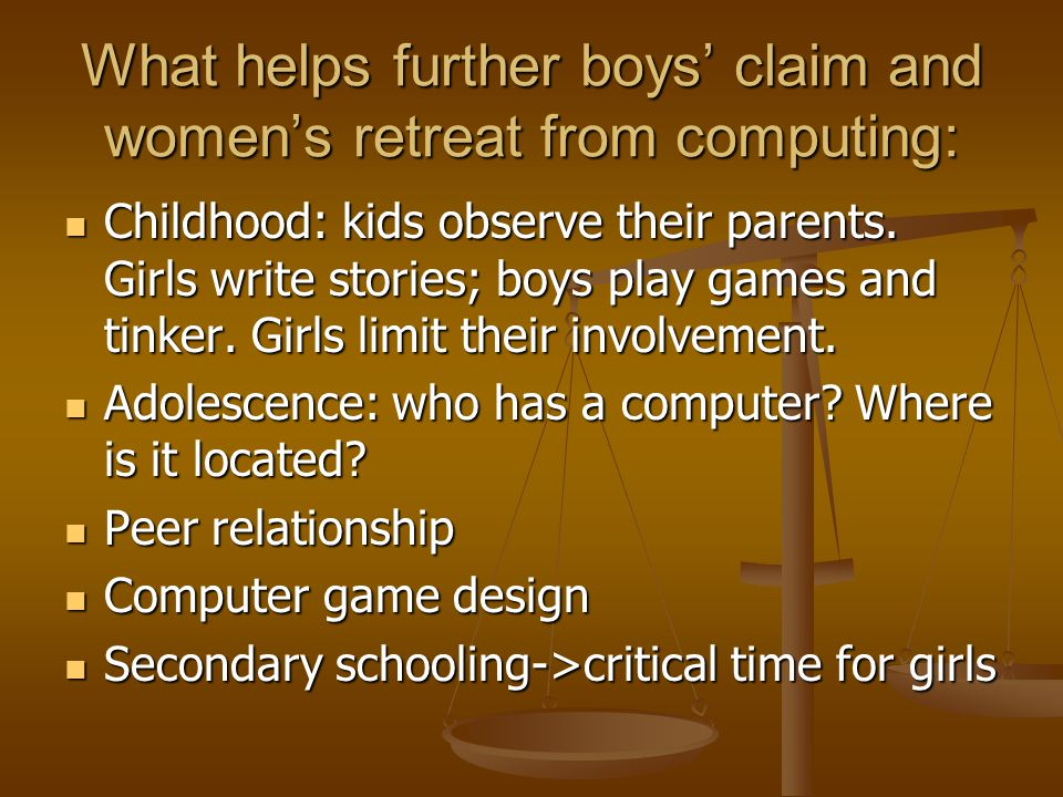 Adolescence Girls ------- Boys Underestimate math abilities Underestimate math abilities Little or no computing experience Little or no computing experience Anxiety about machines Anxiety about machines Like real-life settings for games with a strong story and everyday people Like real-life settings for games with a strong story and everyday people with nonviolent feedback with nonviolent feedback Overestimate math abilities Much computing experience Anxiety about people No clear sense of intrinsic maleness To be a man constant competition to prove invulnerability & un- femaleness.
