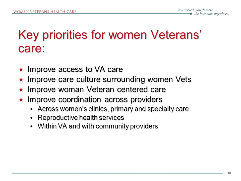 11 A key example: Redesigning Primary Care Delivery 11 Note: Women's clinics offering only gender-specific care (Pap clinic or gynecology care alone) do not meet the new definition for comprehensive primary care Comprehensive Primary Care for Women Veterans: Complete primary care from one designated Women's Health Primary Care Provider at one site (CBOCs included) Care for acute and chronic illness Gender-specific primary care Preventive services Mental Health services Coordination of care
