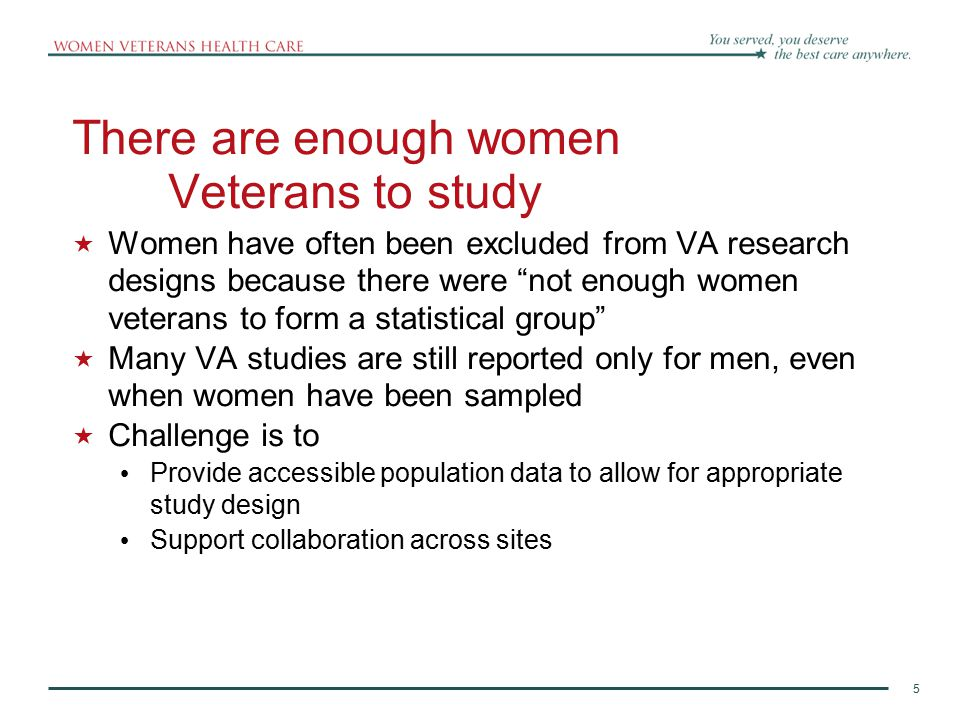 6 6 6 Women Veterans and the VA Real growth has been from 4% to 6% of users, with a one year relative increase of 15% in 2008-2009 alone Number of Female Veterans enrolled in VA plans Number that used VA healthcare facilities