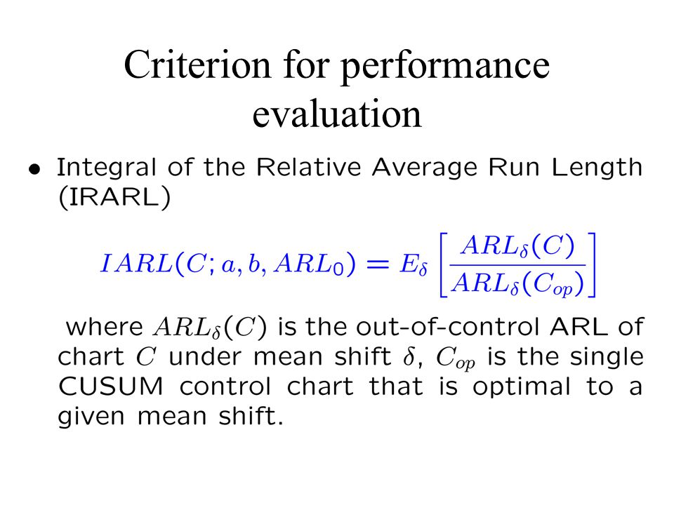 Criterion for performance evaluation