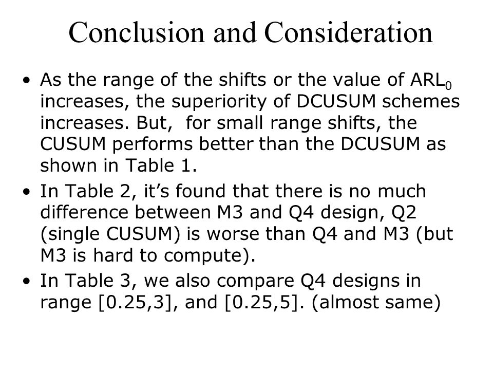 Conclusion and Consideration As the range of the shifts or the value of ARL 0 increases, the superiority of DCUSUM schemes increases.