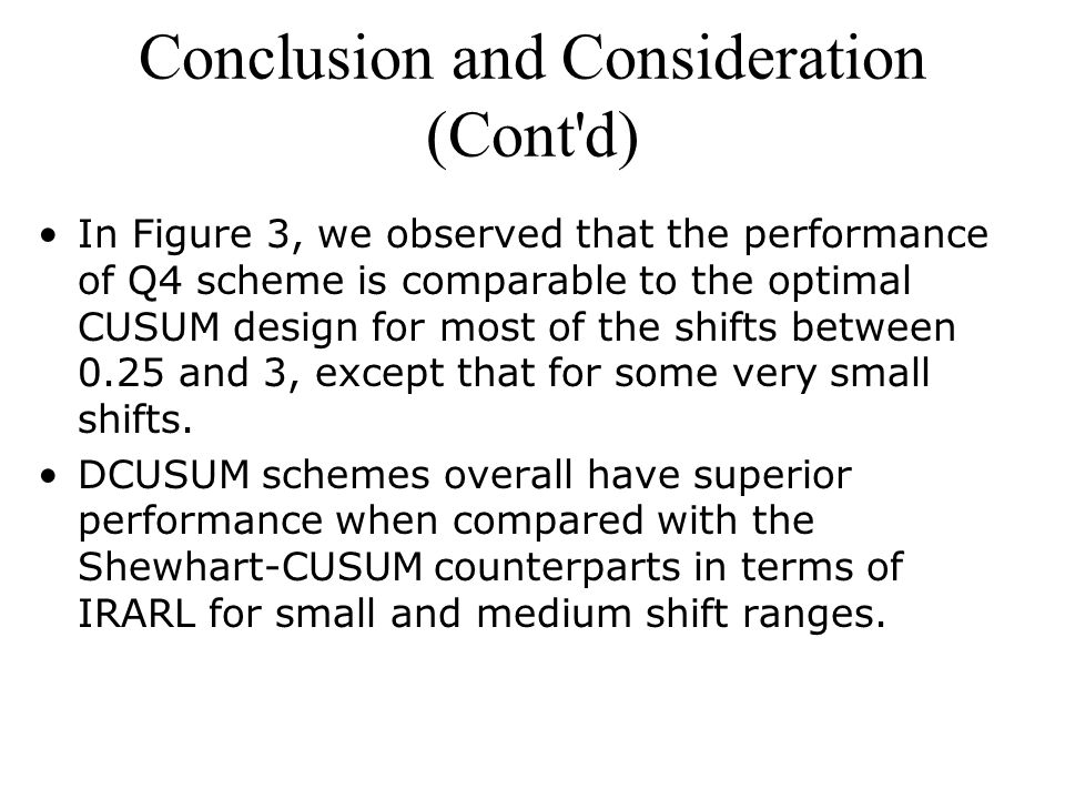 Conclusion and Consideration (Cont d) In Figure 3, we observed that the performance of Q4 scheme is comparable to the optimal CUSUM design for most of the shifts between 0.25 and 3, except that for some very small shifts.