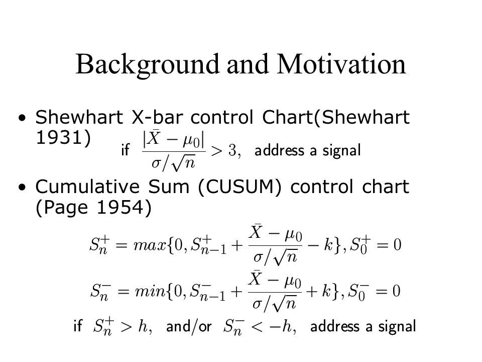 Background and Motivation Shewhart X-bar control Chart(Shewhart 1931) Cumulative Sum (CUSUM) control chart (Page 1954)